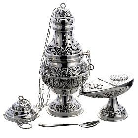 Encensoir et navette ovale laiton fondu ciselé argenté s1