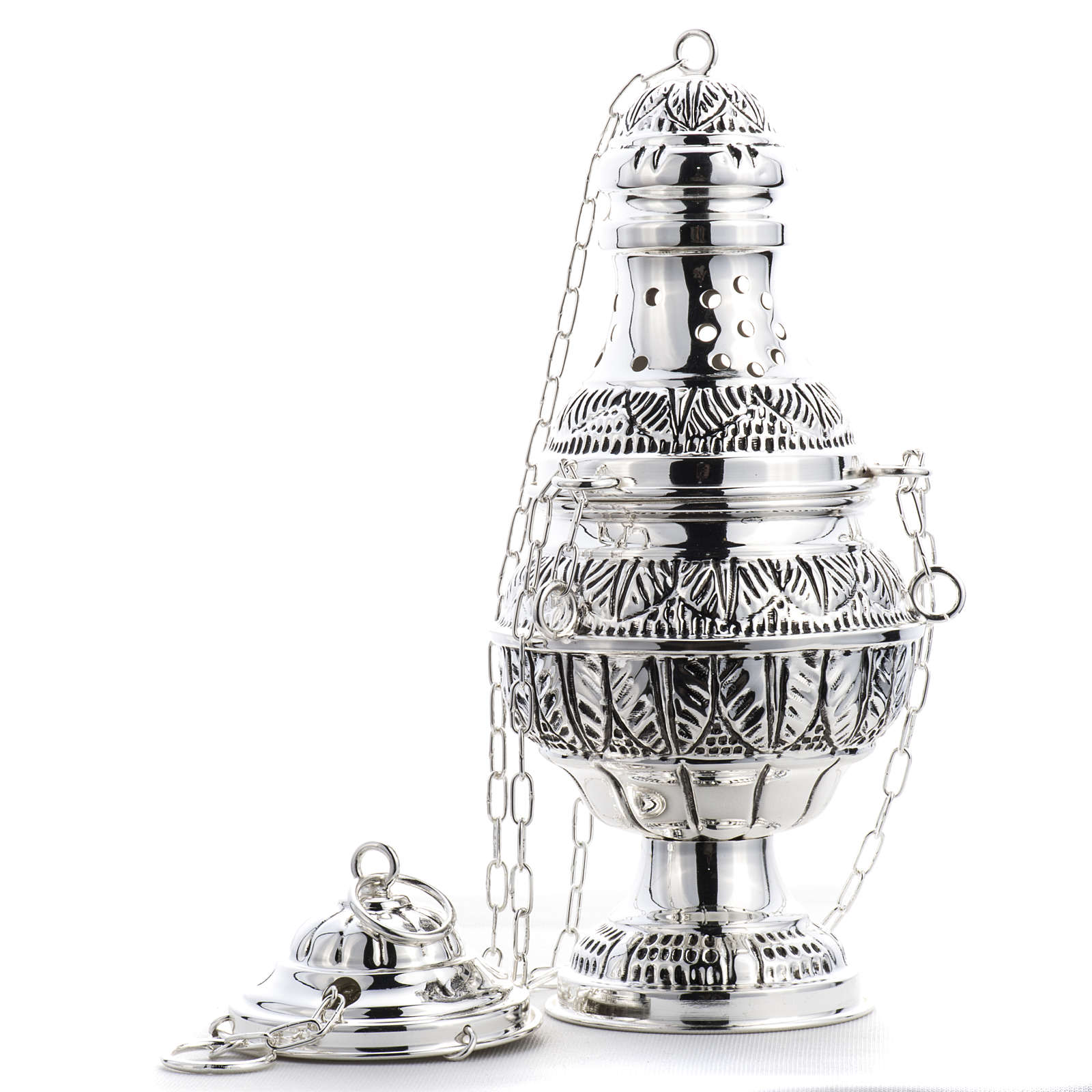 Thurible and oval boat in silver plated chiselled cast brass 3