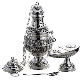 Thurible and oval boat in silver plated chiselled cast brass s1