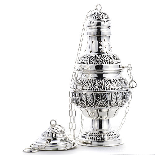 Thurible and oval boat in silver plated chiselled cast brass 7