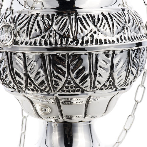 Thurible and oval boat in silver plated chiselled cast brass 8