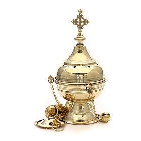 Censer in brass handcrafted Bethlehem monks 26cm s1