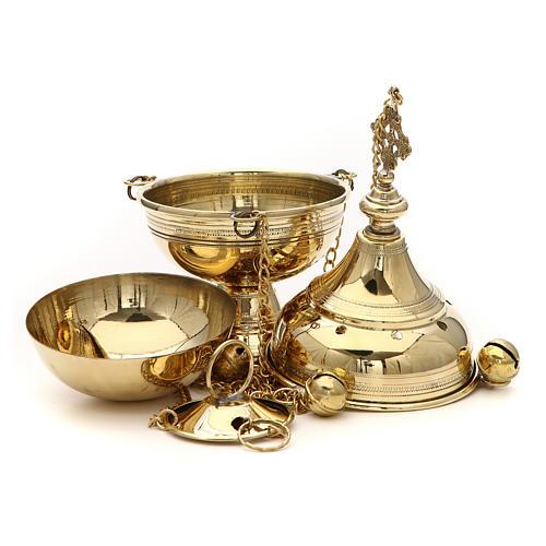 Censer in brass handcrafted Bethlehem monks 26cm 3