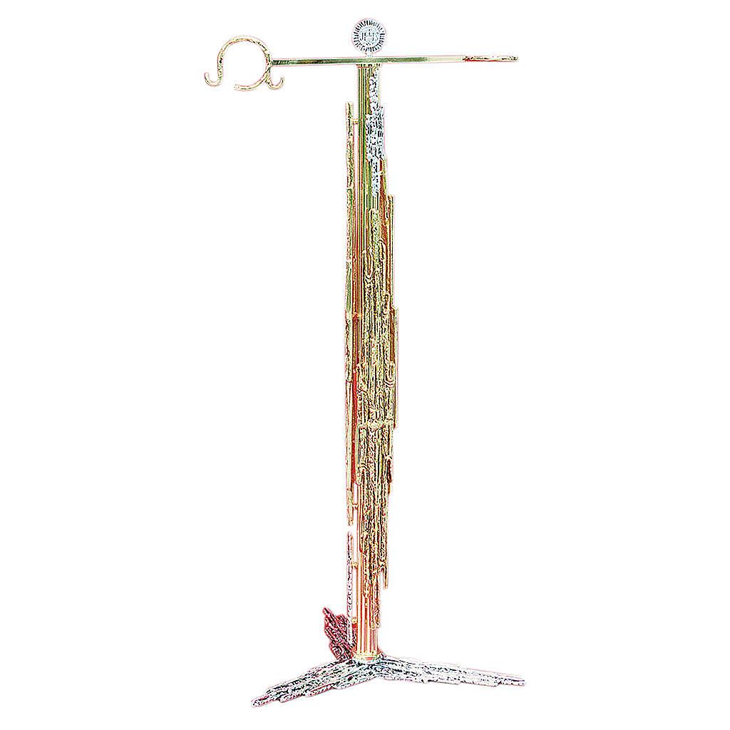 Portaturibolo 108 cm ottone fuso argento dorato 3