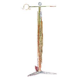 Portaturibolo 108 cm ottone fuso argento dorato s1