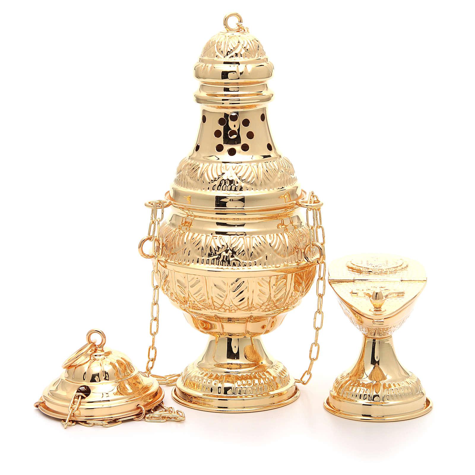 Weihrauchfass und ovales Weihrauchschiffchen aus vergoldetem und ziseliertem Gussmessing 3