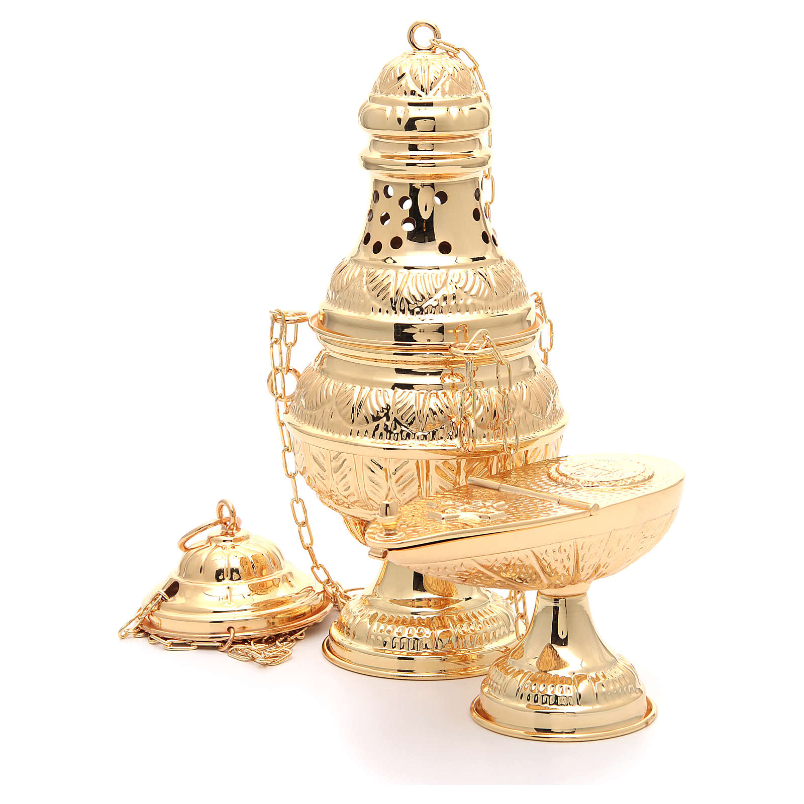Thurible with oval boat in golden, chiselled cast brass 3