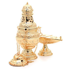 Thurible with oval boat in golden, chiselled cast brass s4