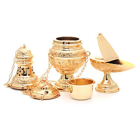 Thurible with oval boat in golden, chiselled cast brass s5