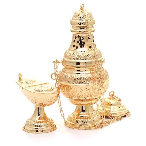 Incensario y naveta ovalada latón fundido cincelado dorado 3
