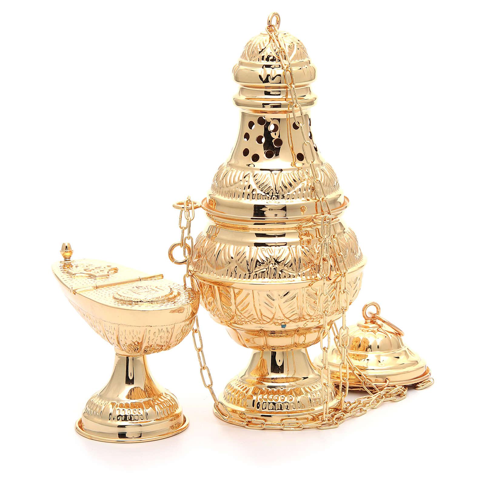 Encensoir avec navette ovale laiton moulé ciselé doré 3