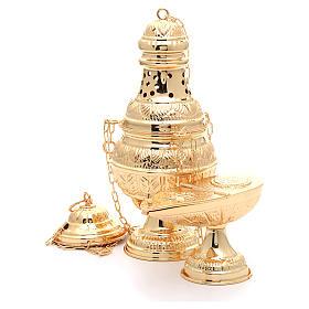 Encensoir avec navette ovale laiton moulé ciselé doré s2