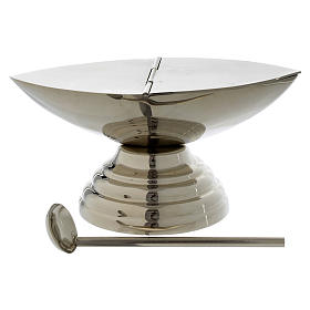 Thuribles and boats: Boat for incense with spoon in silver plated brass