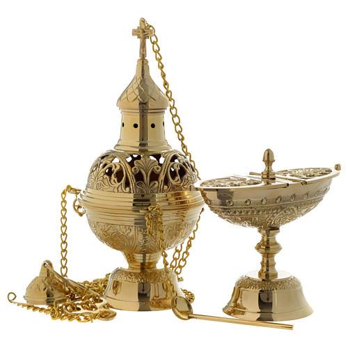 Encensoir et navette feuilles et croix laiton doré 1