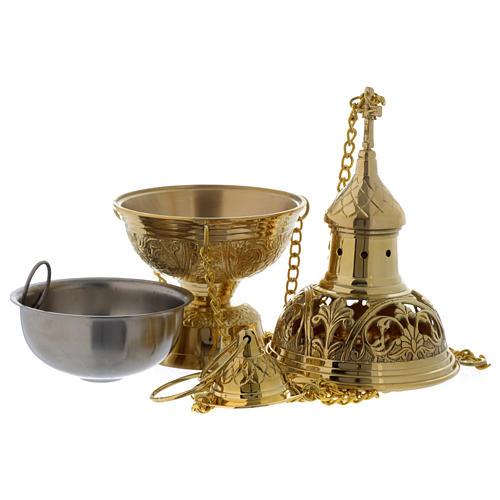 Encensoir et navette feuilles et croix laiton doré 4