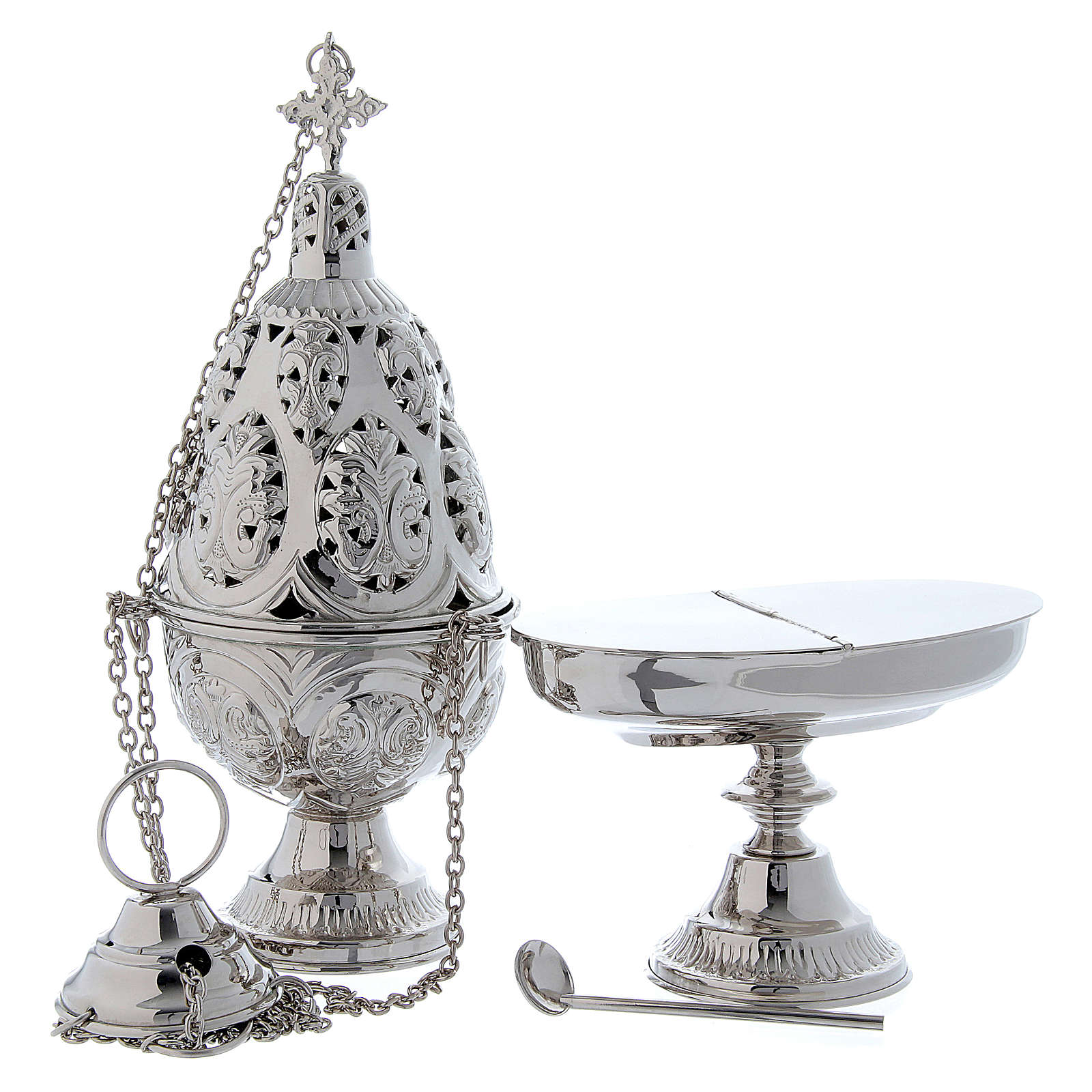 Incense set: decorated censer and classic boat with spoon in brass 3
