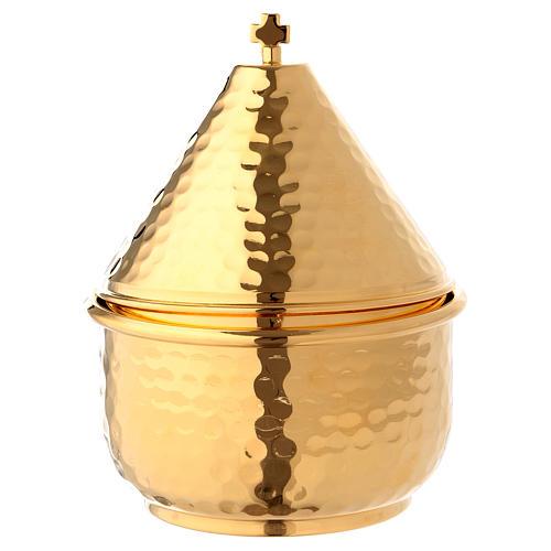 Navette en repoussé avec charnière dorée 15 cm 1