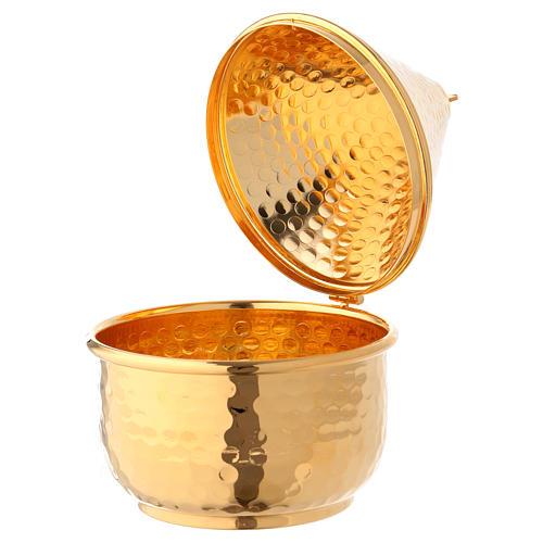 Navette en repoussé avec charnière dorée 15 cm 2