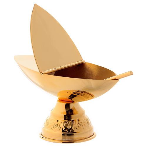 Set incensario y naveta con cucharilla dorada 4