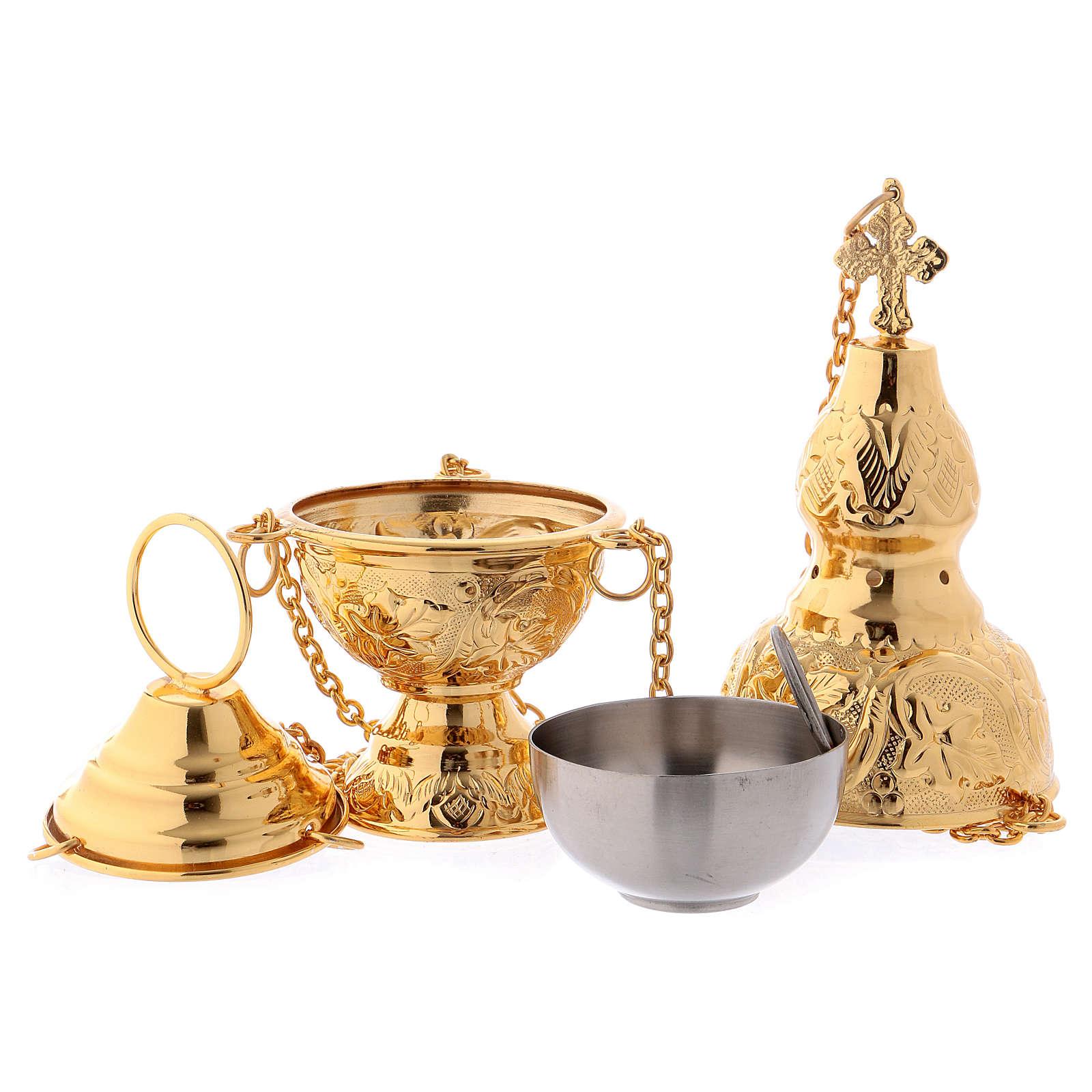 Turíbulo e Naveta latão dourado com colher para incenso 3