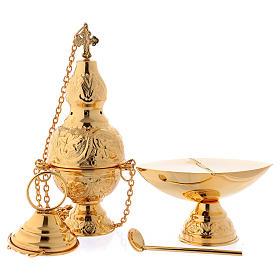 Turíbulo e Naveta latão dourado com colher para incenso s1