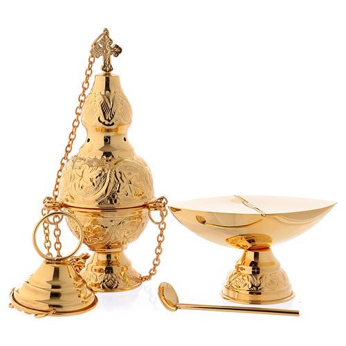 Turíbulo e Naveta latão dourado com colher para incenso 1
