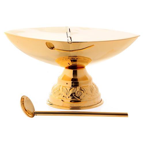 Turíbulo e Naveta latão dourado com colher para incenso 2