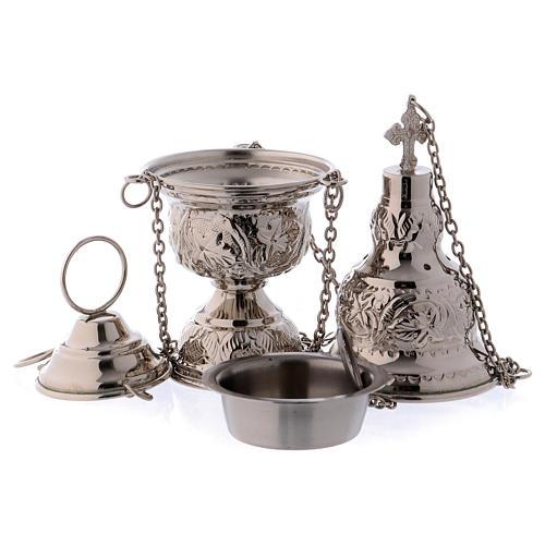 Encensoir et navette avec cuillère argentée 4