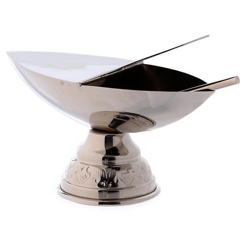 Incensario y naveta con cucharilla plateada 5