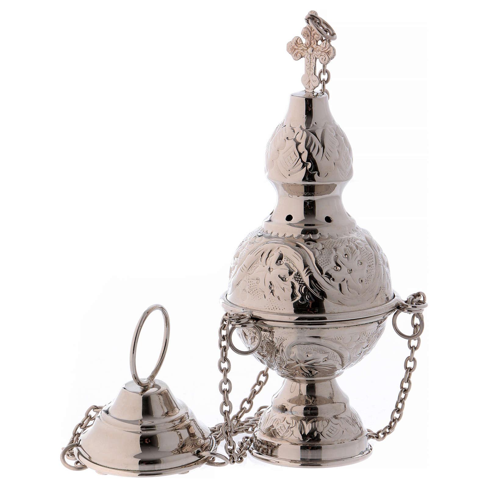 Encensoir et navette avec cuillère en finition argentée 3