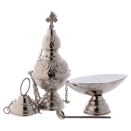 Encensoir et navette avec cuillère en finition argentée 1