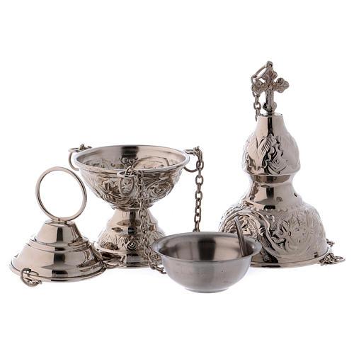 Encensoir et navette avec cuillère en finition argentée 4