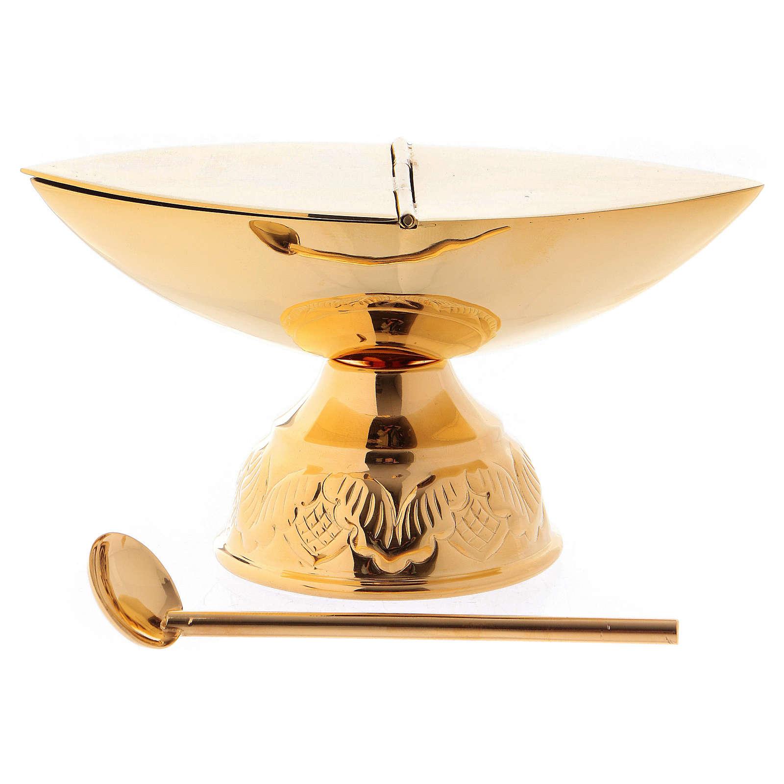 Incensario y naveta con cucharilla dorada 3