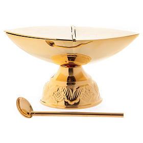 Incensario y naveta con cucharilla dorada s3