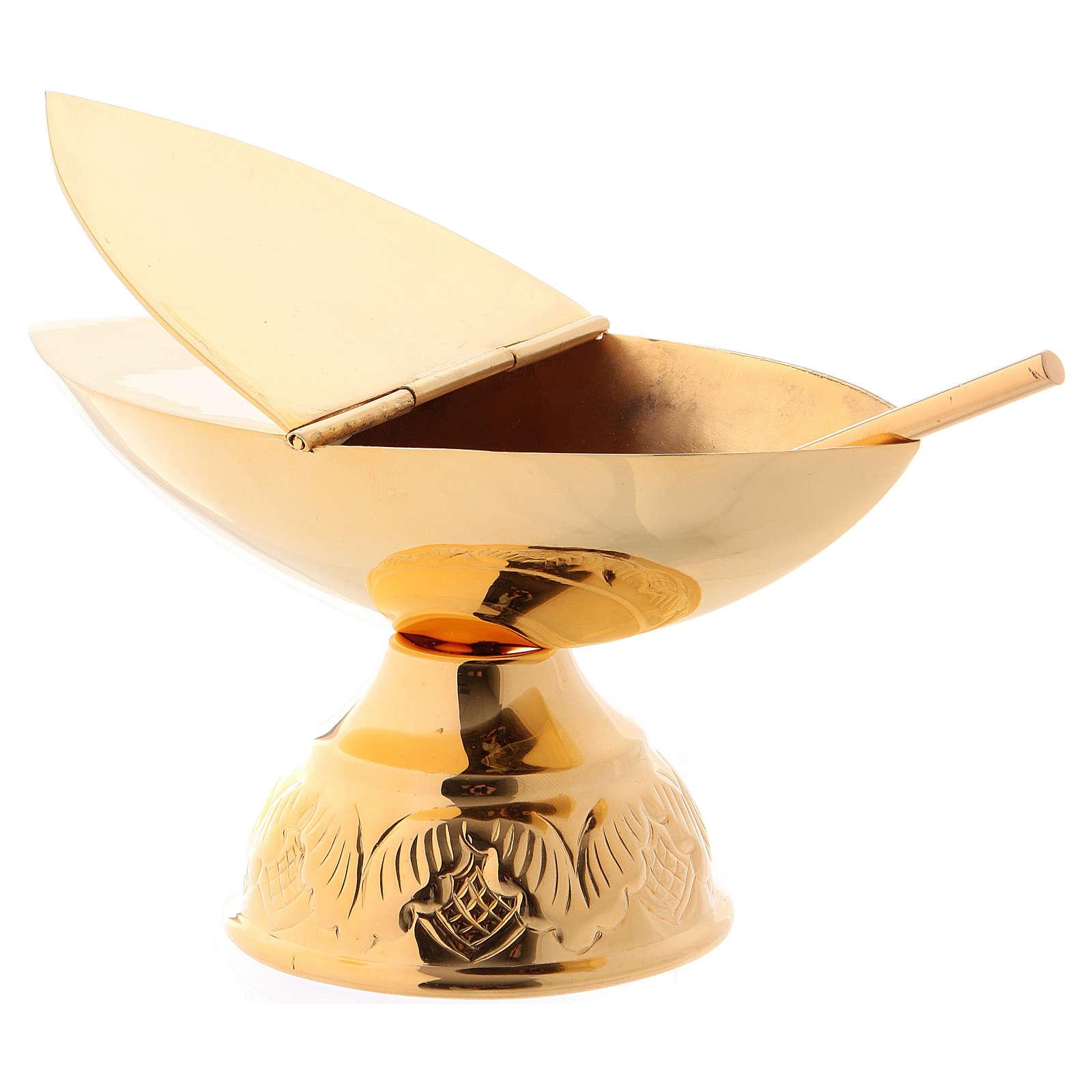 Turibolo e navetta con cucchiaio in finitura dorata 3