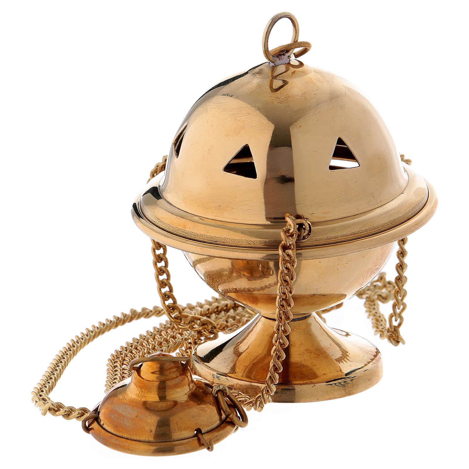 Censer in glossy golden brass 10 cm 3