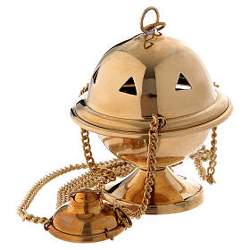 Thuribles and boats: Censer in glossy golden brass 10 cm