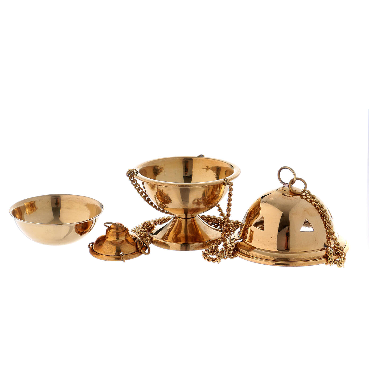 Polished gold plated brass thurible 4 in 3