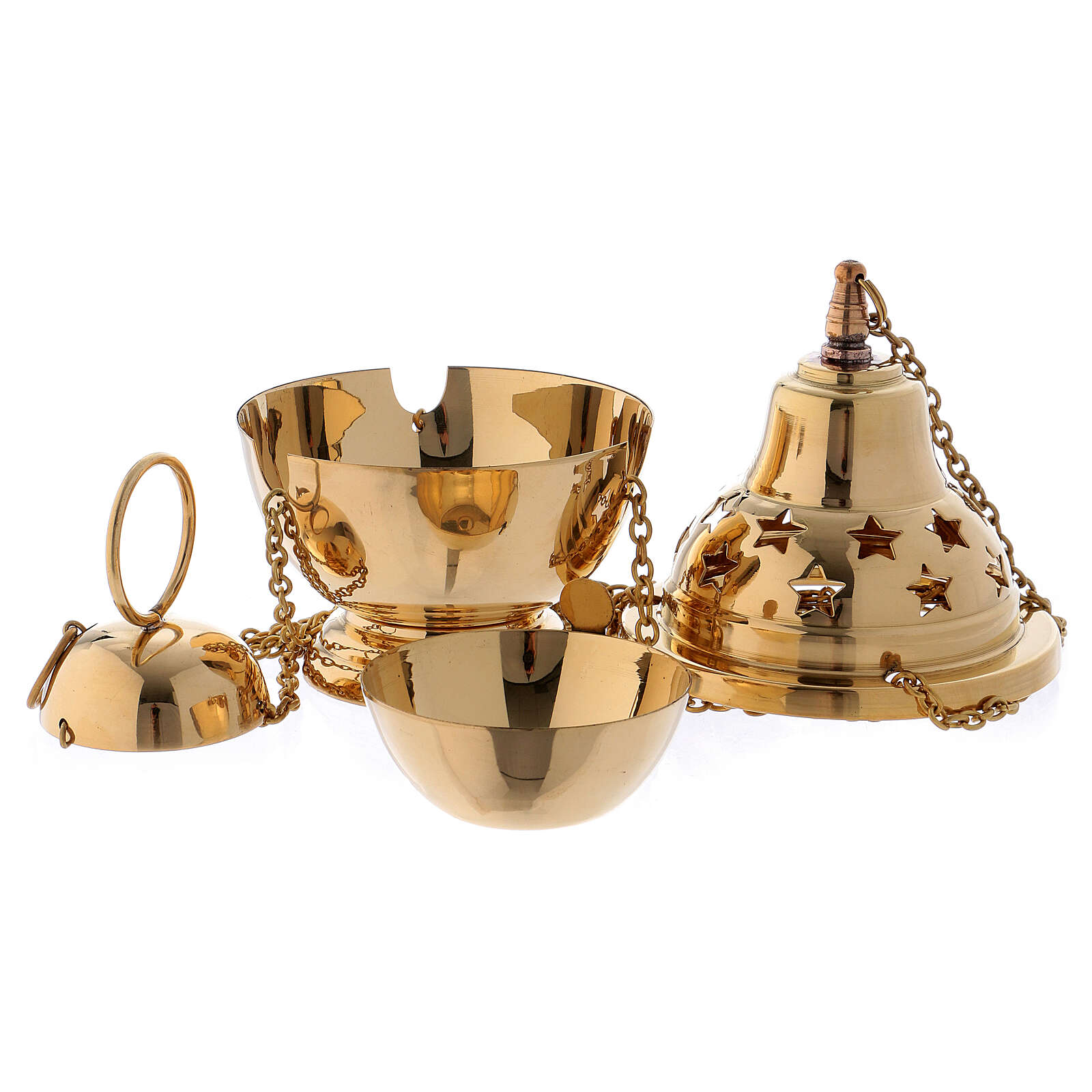 Gold plated brass thurible with stars 6 1/4 in 3