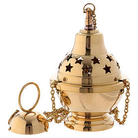 Gold plated brass thurible with stars 6 1/4 in s1