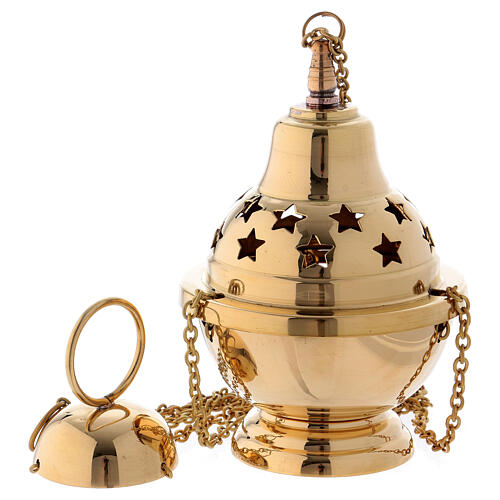 Gold plated brass thurible with stars 6 1/4 in 1