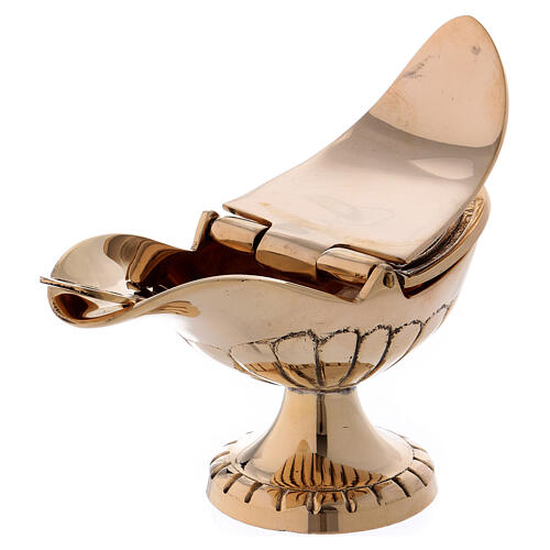 Boat with spoon in gold plated brass 2