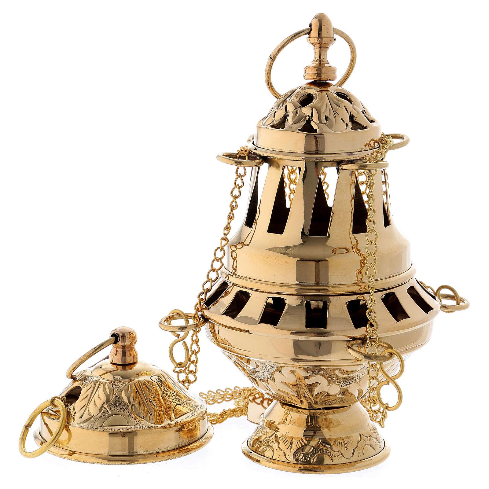 Censer in glossy golden brass 16 cm 3