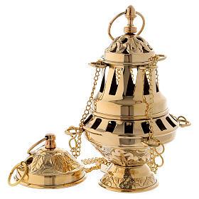 Censer in glossy golden brass 16 cm s1