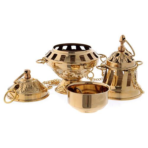 Censer in glossy golden brass 16 cm 2
