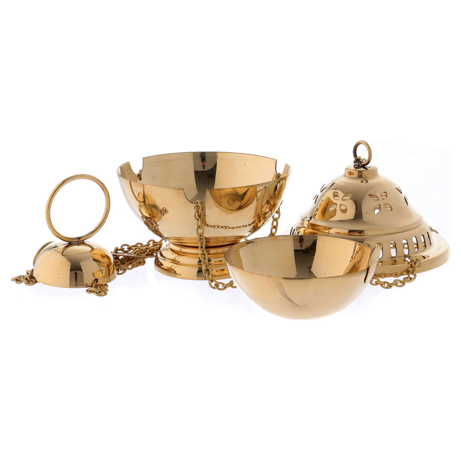 Censer in glossy golden brass 14 cm 3