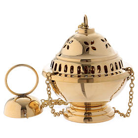 Censer in glossy golden brass 14 cm s1