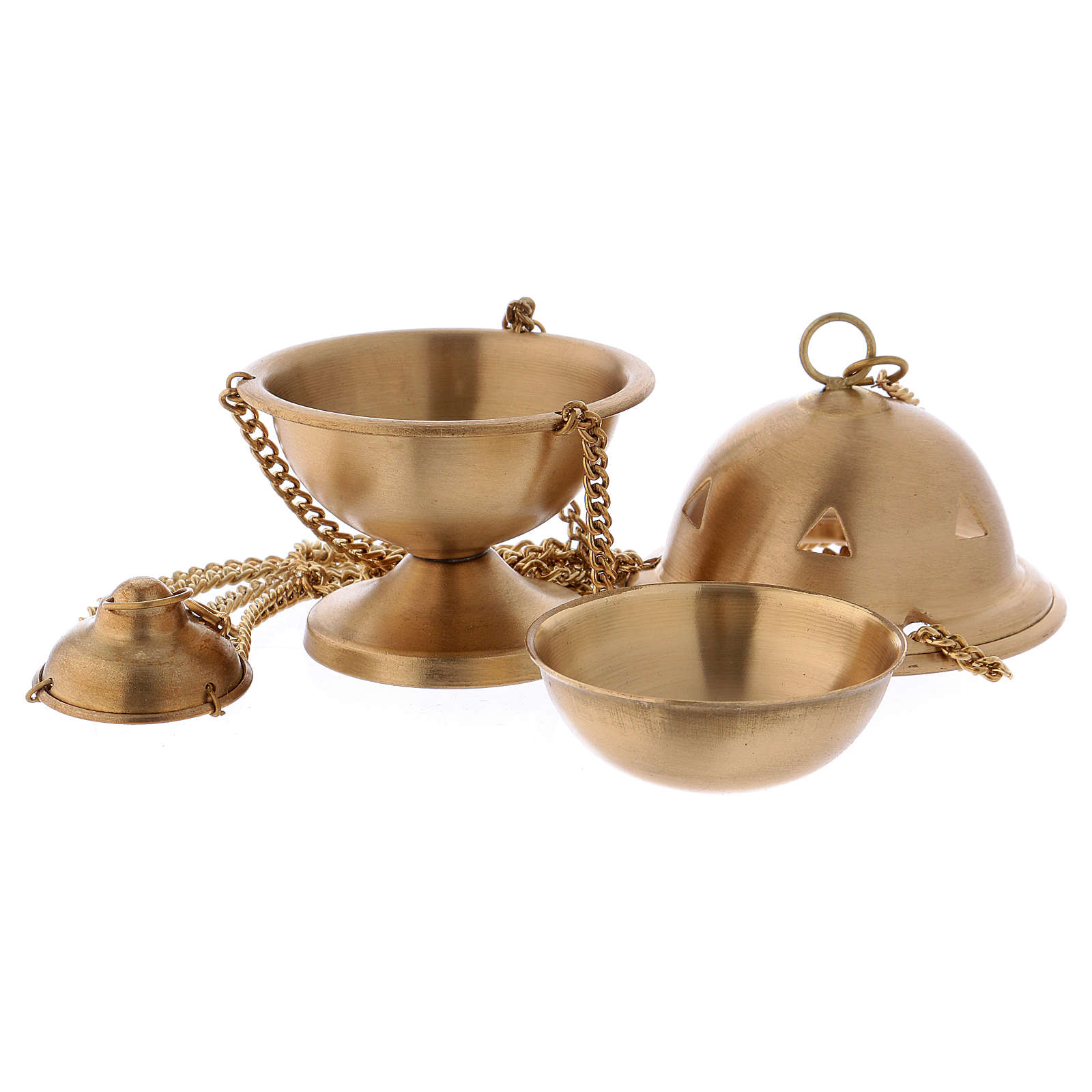 Censer in matte gold-plated brass 10 cm 3