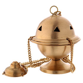 Censer in matte gold-plated brass 10 cm s1