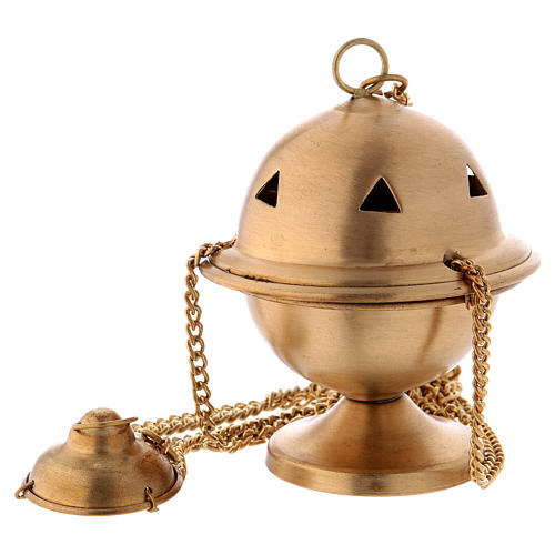 Censer in matte gold-plated brass 10 cm 1